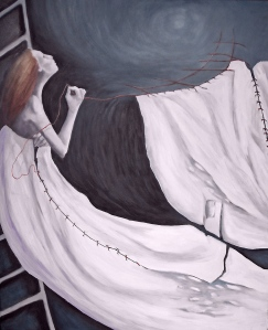 work in progress: Moon Threads, oil on canvas 77x92cm (30x36)