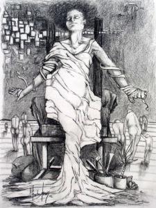 Dark Vision-©2003- graphite on paper, 25x30 cm (10x12)