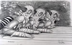 Clothed Race Horses, ©2003- graphite on paper, 25x30 cm (10x12)