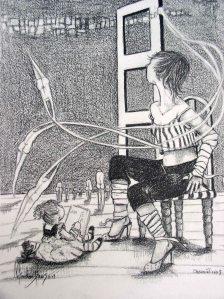 Observation 3- ©2003- graphite on paper, 25x30 cm (10x12)