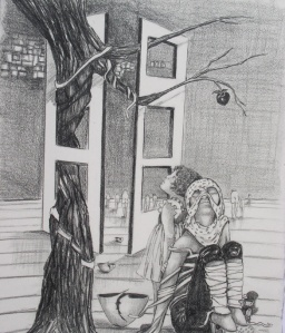 Receiving Information ©2003- graphite on paper, 25x30 cm (10x12)