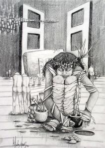 ©2003- Beginnings-graphite on paper, 25x30 cm (10x12)
