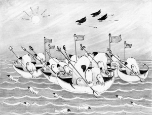 "Ocean Race, graphite on paper, 8x10, from the book ""Avitars of Avilon, The lost Bird Adventure""  Written and Illustrated by Cassandra Gordon-Harris, Blurb.com - 2008"