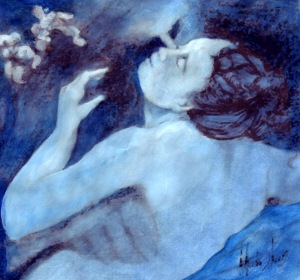 "Blue and White, 2007, graphite and ink on paper- variation of Correggio's ""Jupiter and Io"""