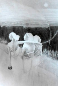 unfinished graphite sketch of one of my paintings, 2015, 15x25 cm (6 x10)