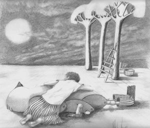 Night Wind, graphite on paper A4, (8x10)…...